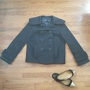 FC wool cape coat with square buttons